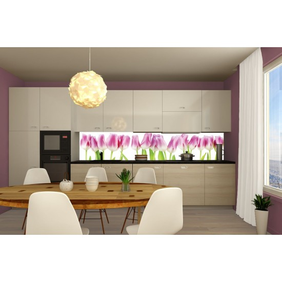 Wall murals for a kitchen with pink tulips
