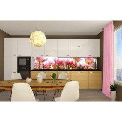Wall murals for a kitchen with tulips in a garden